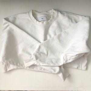 TNA white crop crew neck sweatshirt